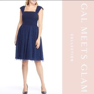 NEW Gal Meets Glam Navy Delores Pearl Tulle Dress